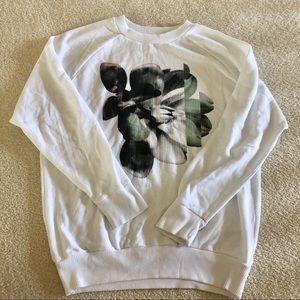 hollister co floral print white sweatshirt
